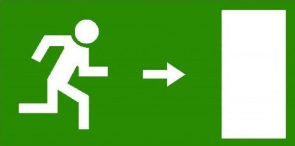 nooduitgang naar rechts
